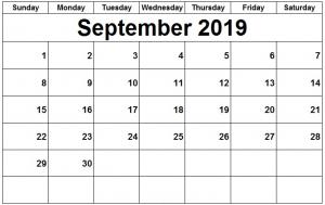September 2019 Printable Calendar PDF