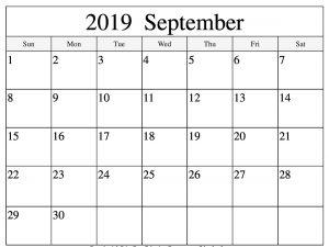 September 2019 Printable Calendar Word