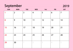 September 2019 Simple Color Calendar