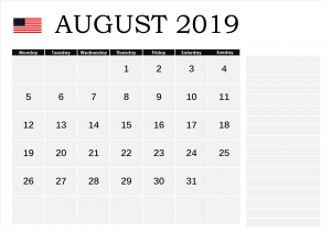USA August 2019 Federal Holidays