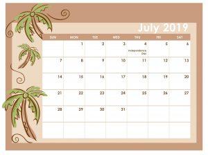 USA Calendar July 2019