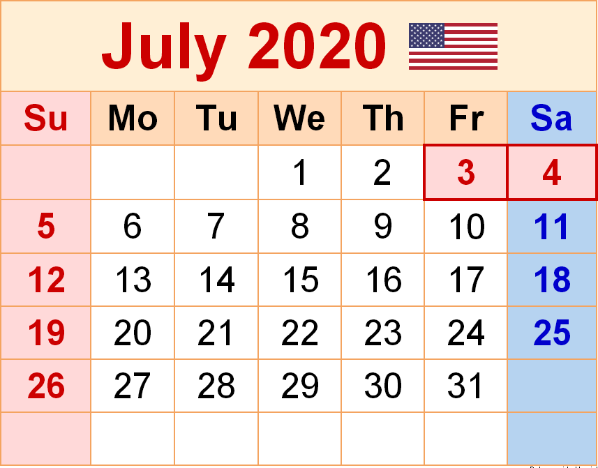 USA Holidays Calendar July 2020