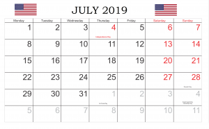 United States Holidays July 2019