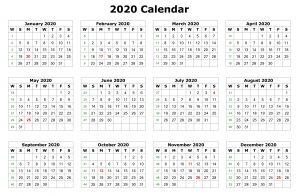 12 Months 2020 Printable Calendar Template
