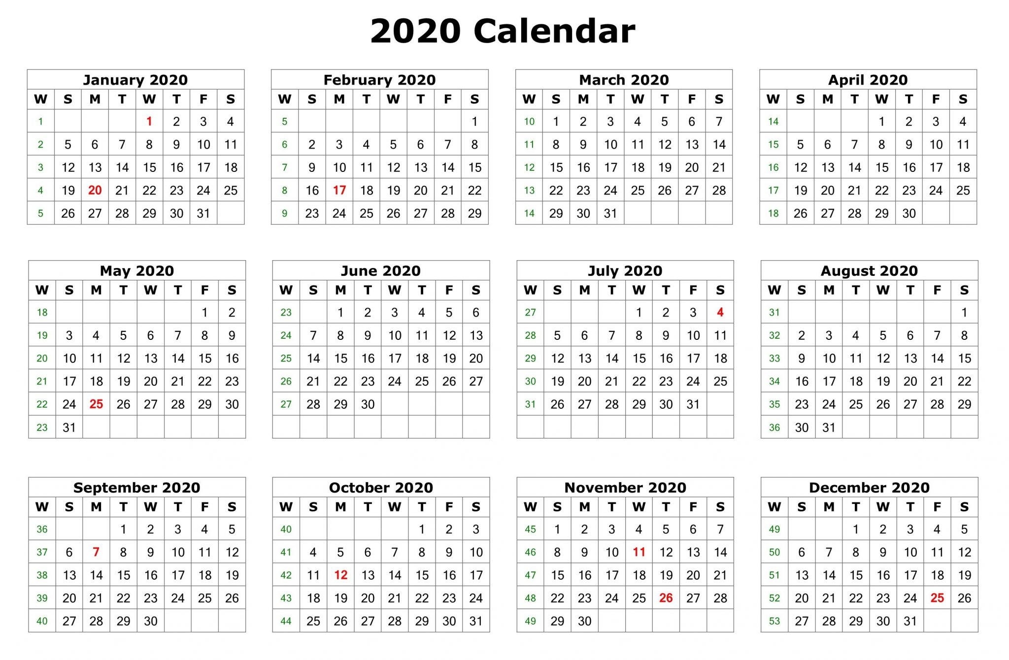 Free Printable 2020 Monthly Calendar.Free Yearly Printable Calendar 2020 With Holidays