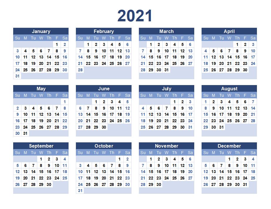 12 Months 2021 Printable Calendar Template - Free ...