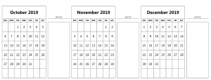 2019 October November December Calendar