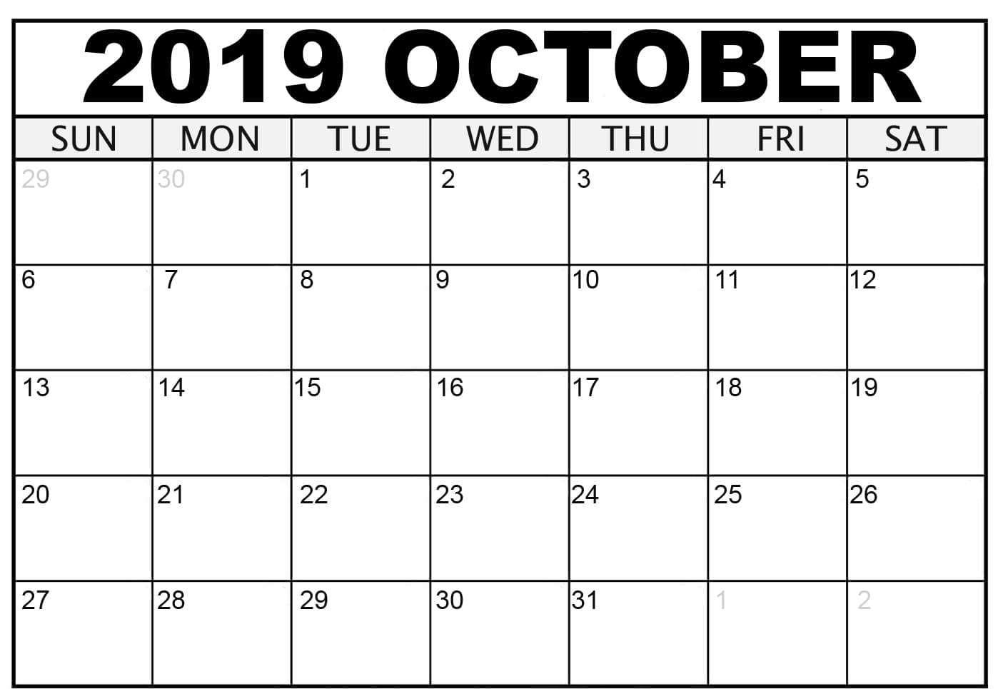2019 Printable Calendar October