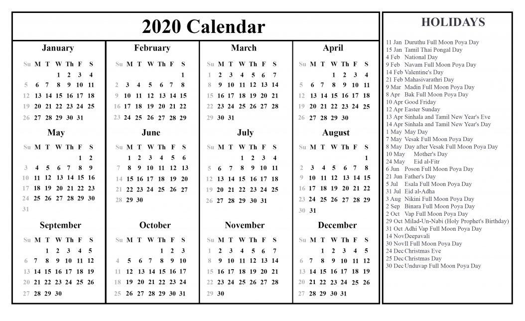 2020 12 Months Holidays Calendar