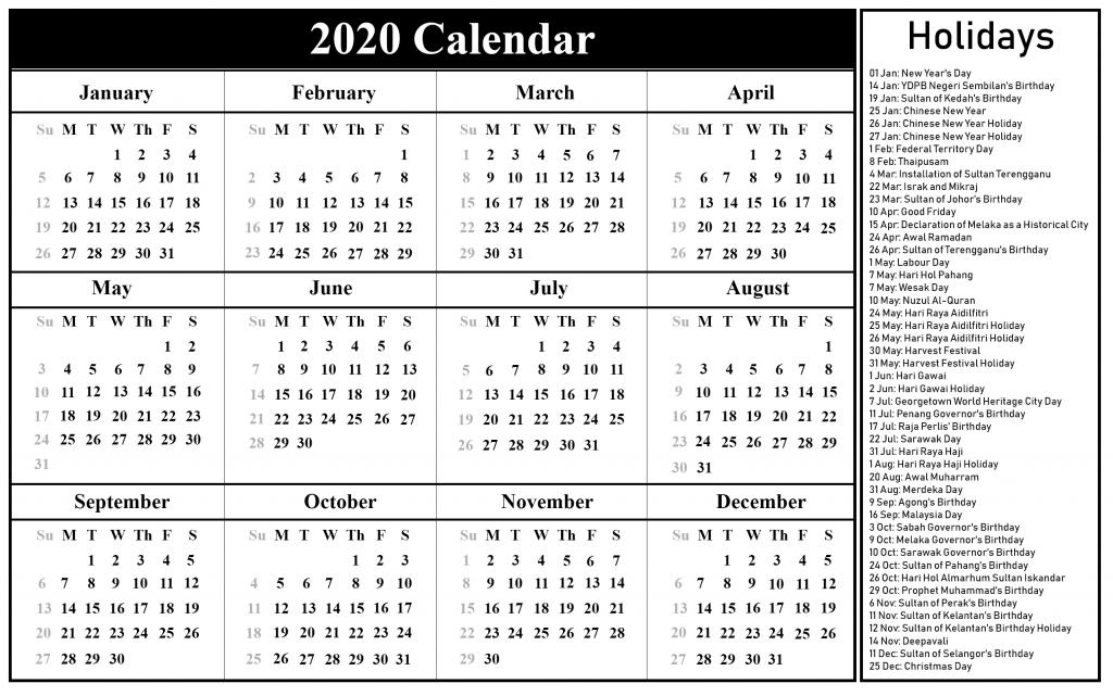 2020 Holidays Calendar
