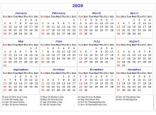 2020 One Page Holidays Calendar