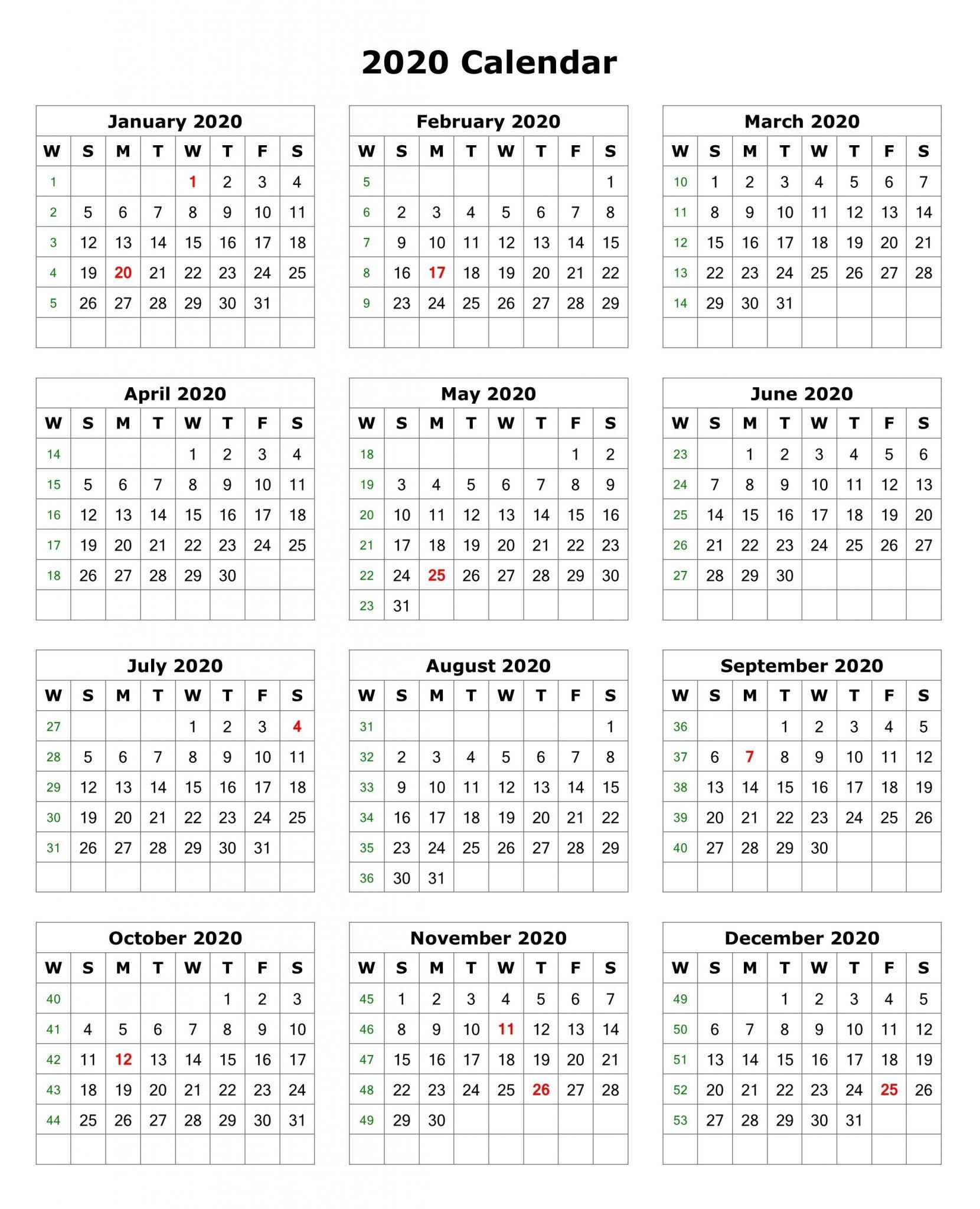 2020 One Page Portrait Calendar