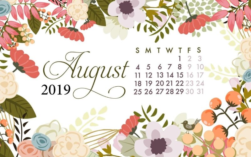 August 2019 Calendar Desktop Wallpaper