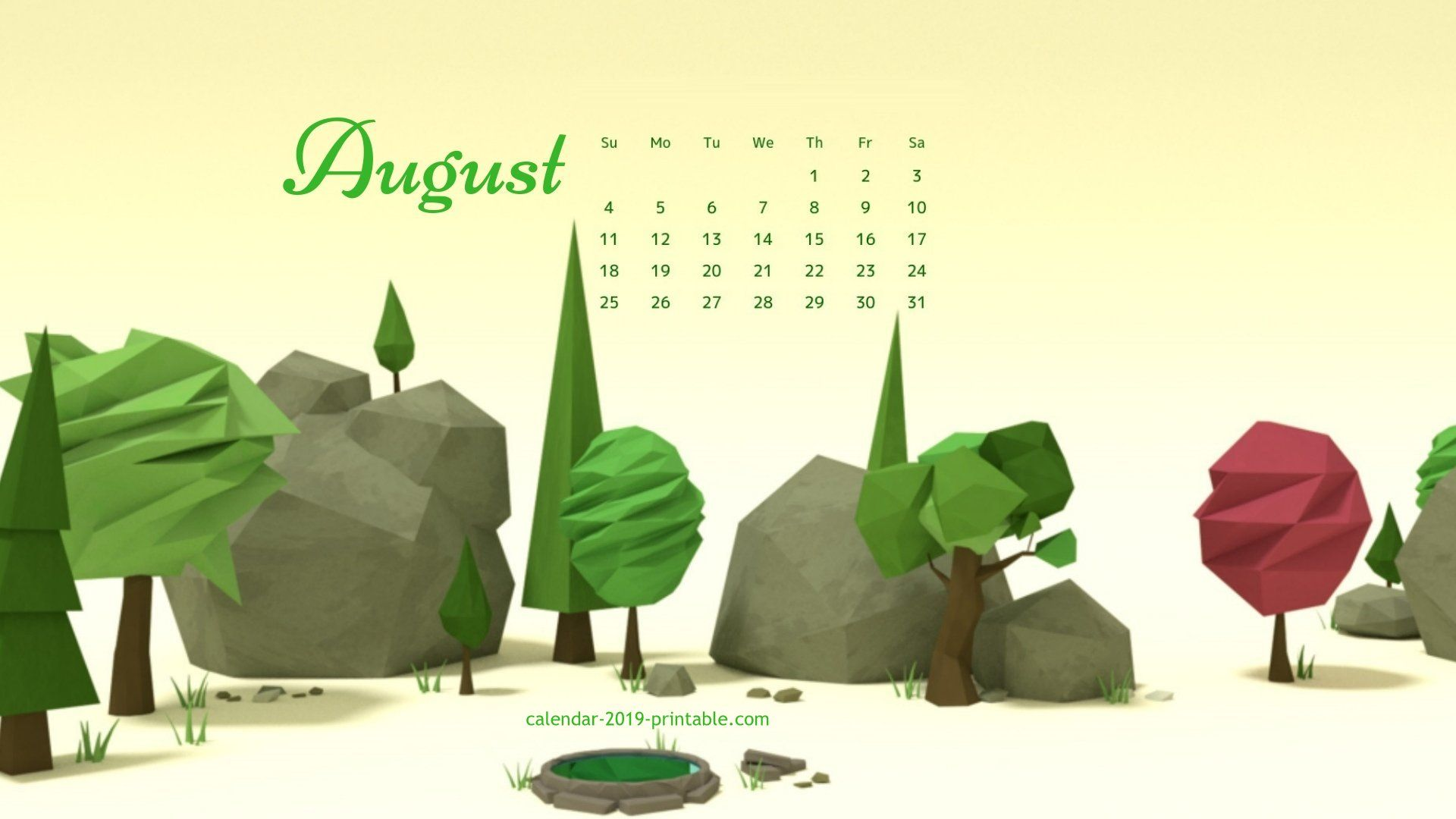 August 2019 Desktop Background Calendar