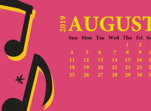August 2019 Desktop Calendar Wallpaper