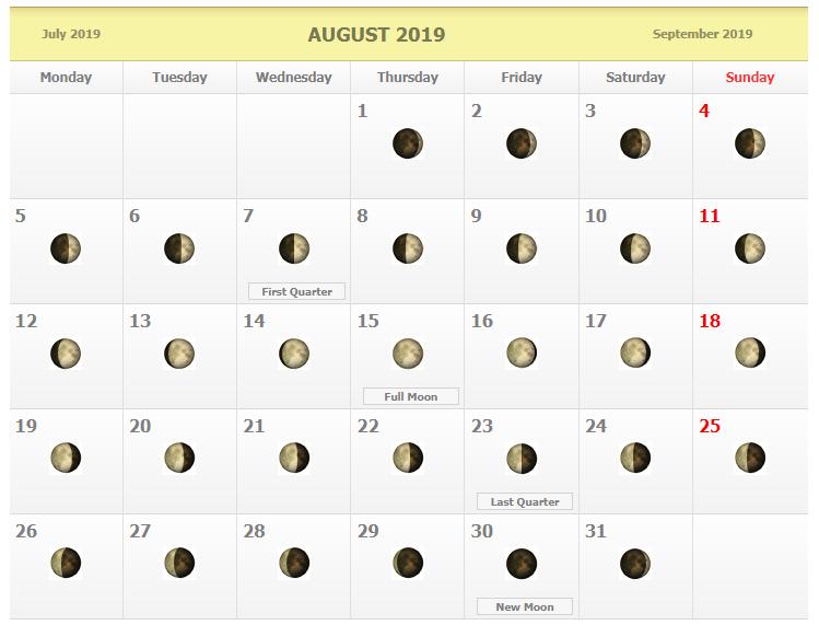 August 2019 Full Moon Calendar