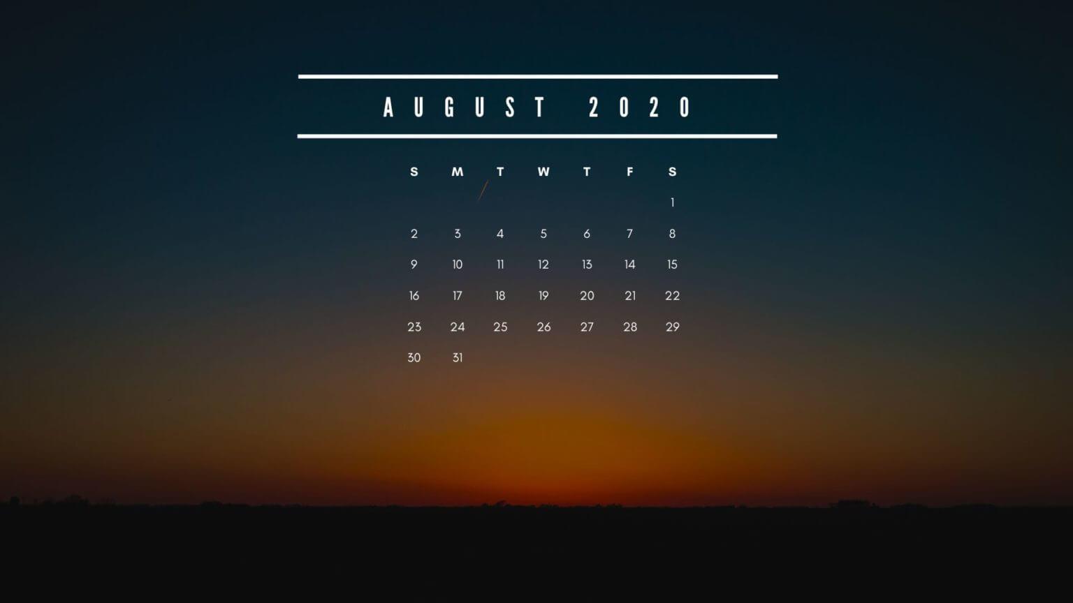 August 2020 Calendar HD Wallpaper