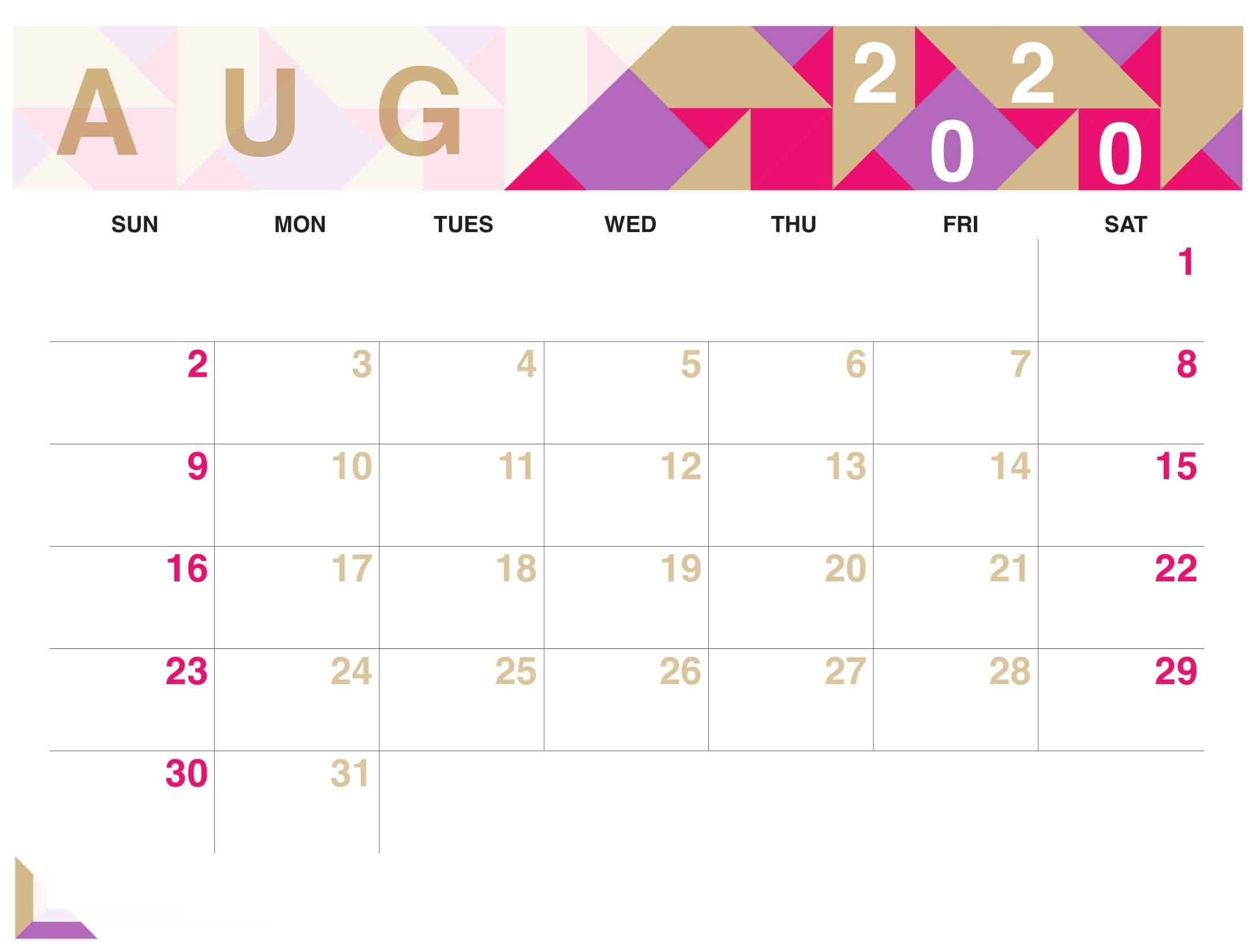 August 2020 Cute Calendar