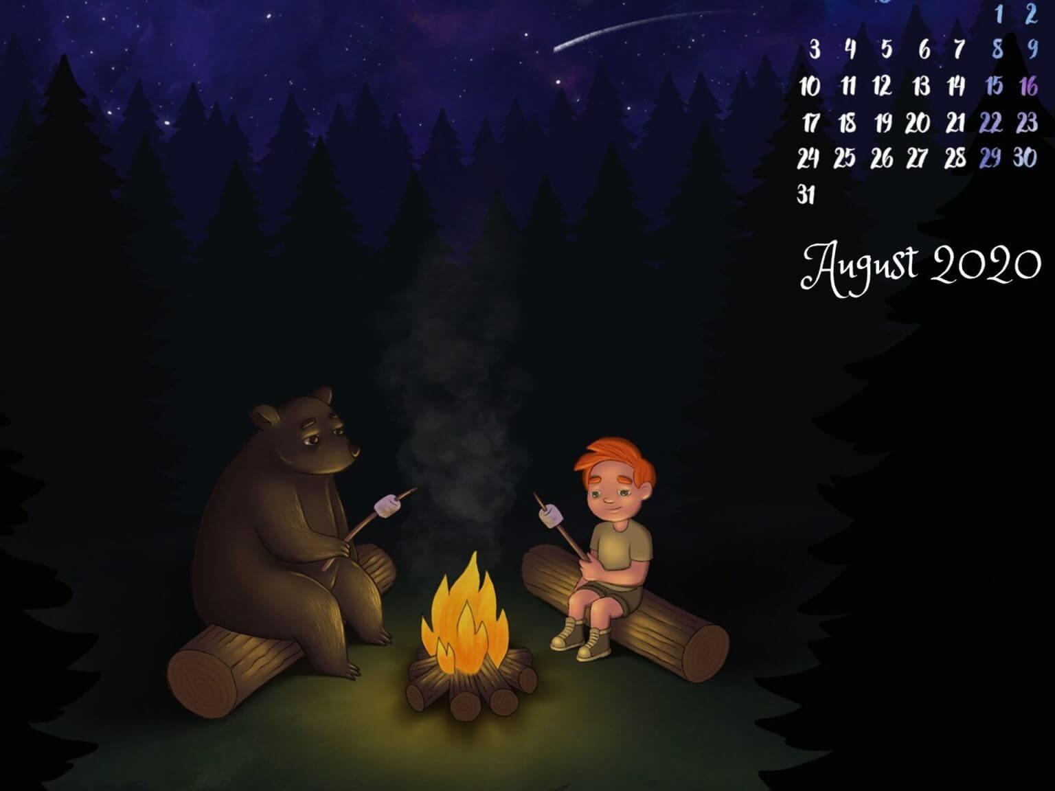 August 2020 Desktop Background Calendar