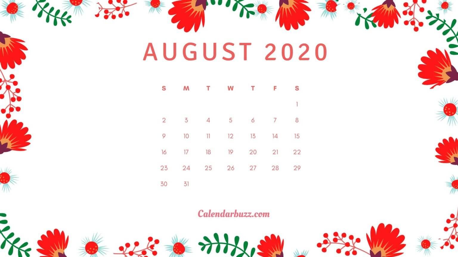 August 2020 Floral Calendar Wallpaper