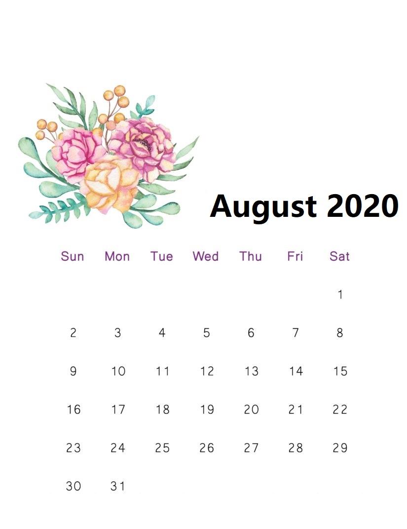 August 2020 Floral Calendar