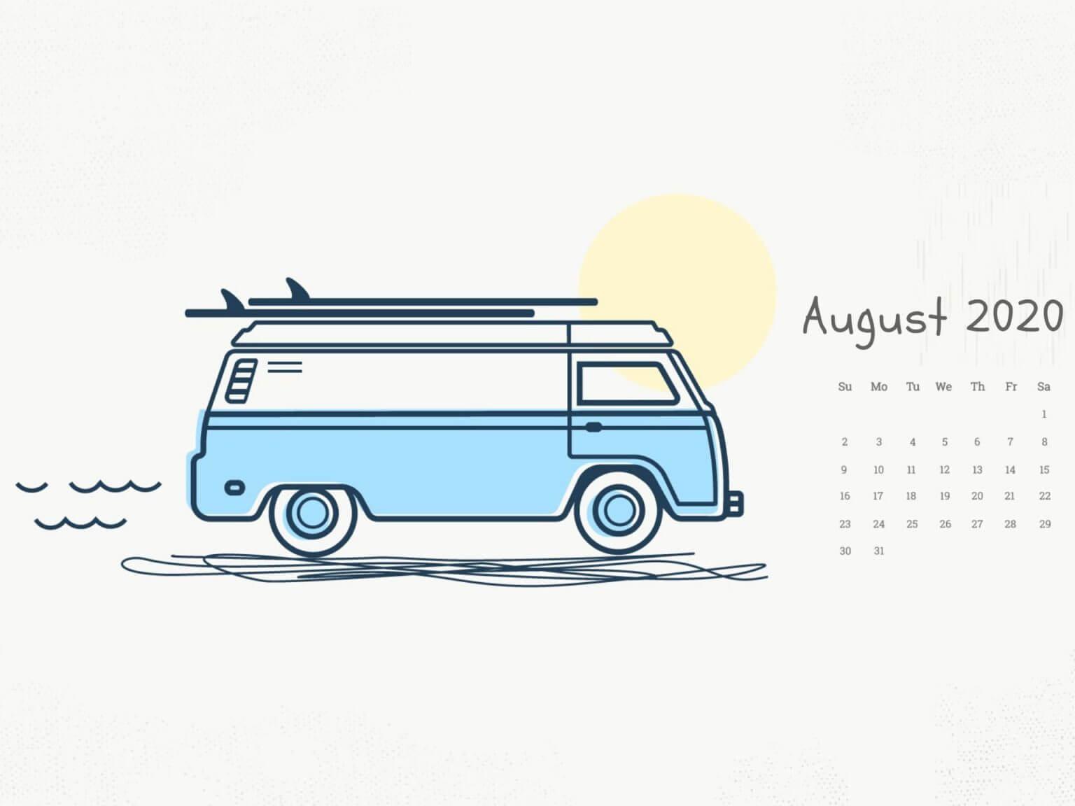 August 2020 Monthly Calendar Wallpaper