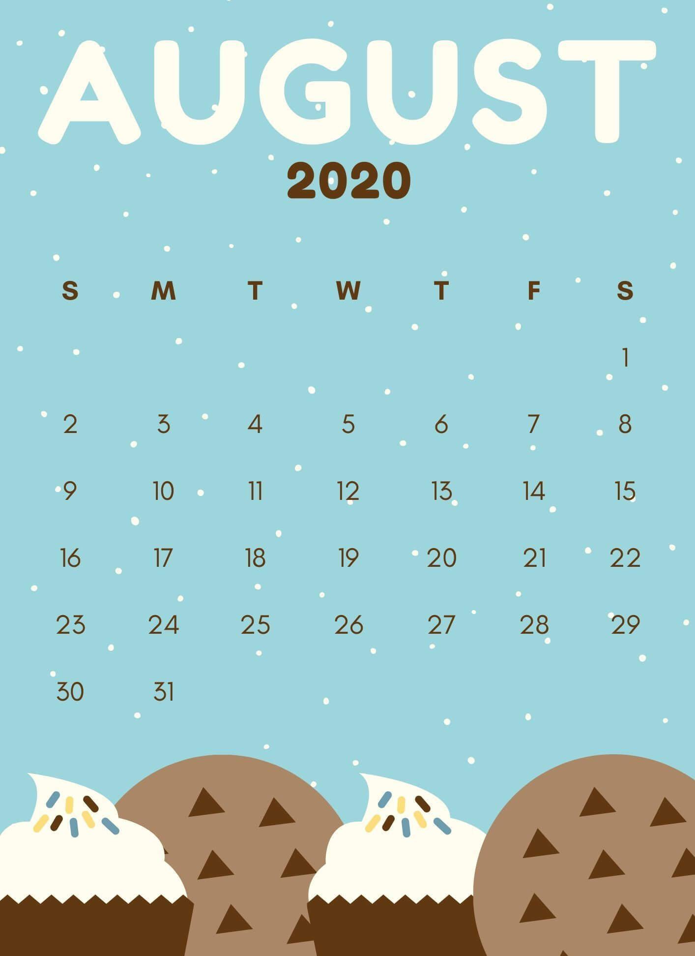August 2020 iPhone Calendar Wallpaper