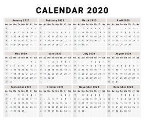 Blank 2020 One Page Calendar Printable