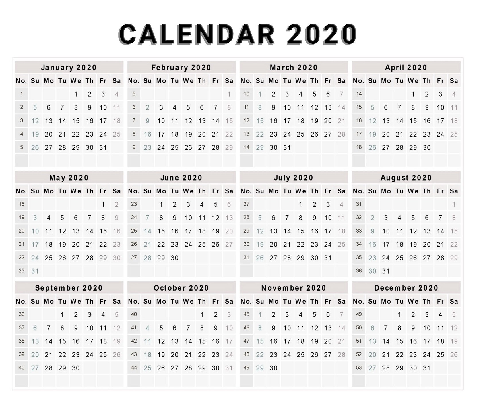 Blank 2020 One Page Calendar Printable - Free Printable