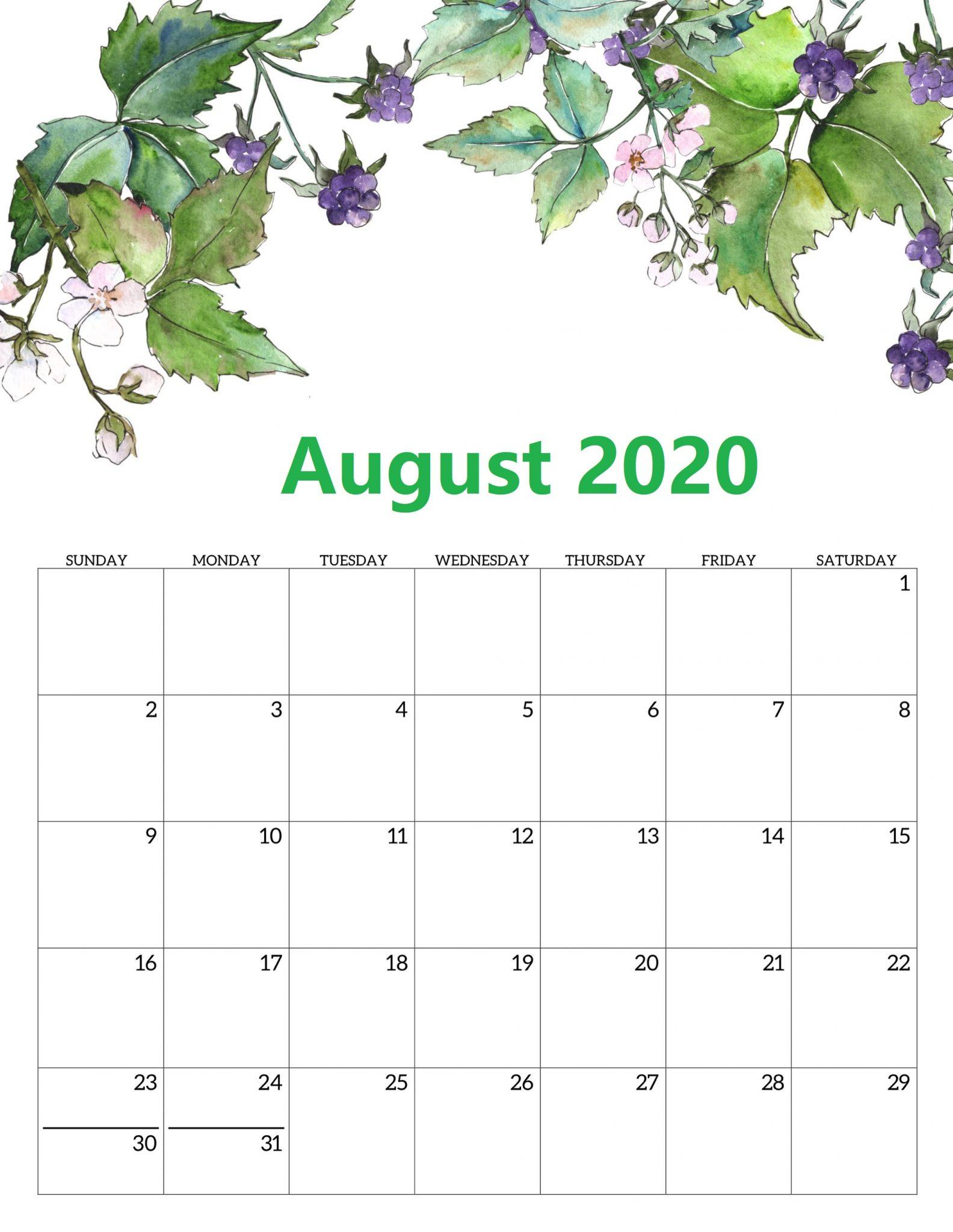 Blank August 2020 Cute Calendar