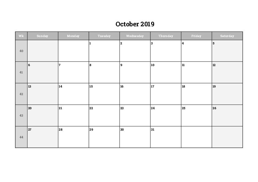 Blank Calendar October 2019 Printable