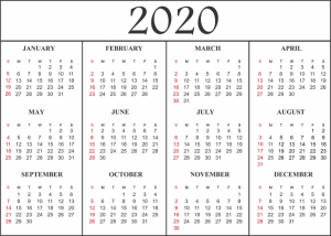 Blank Calendar Printable Template 2020