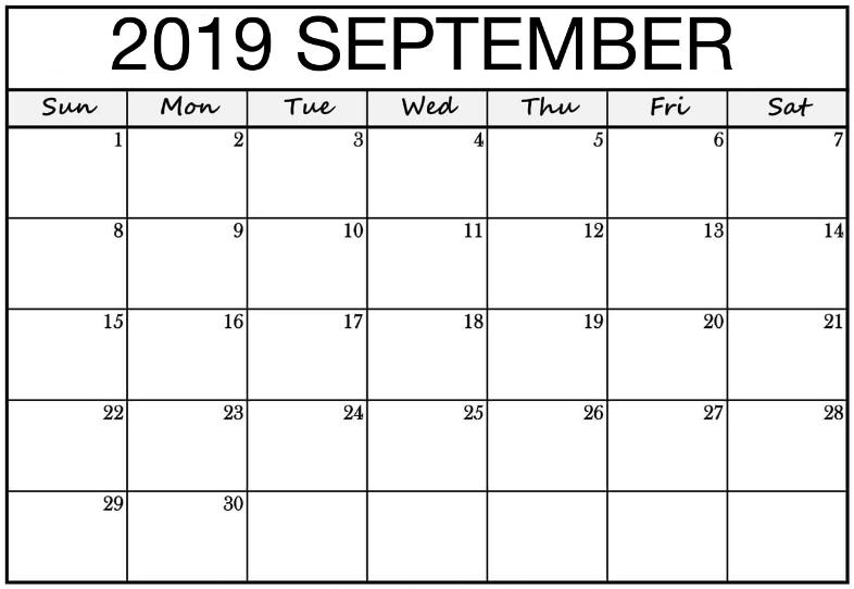 Blank Calendar Template September 2019