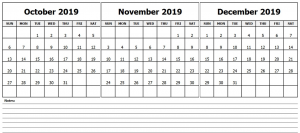 Calendar October November December 2019