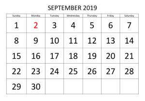 Calendar Template September 2019