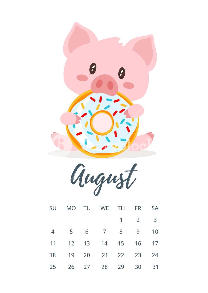 Cute August 2019 Calendar For Kids