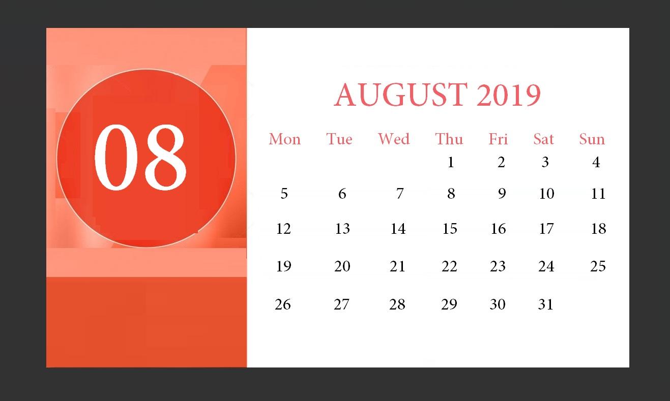 Cute August 2019 Calendar For Office Desk