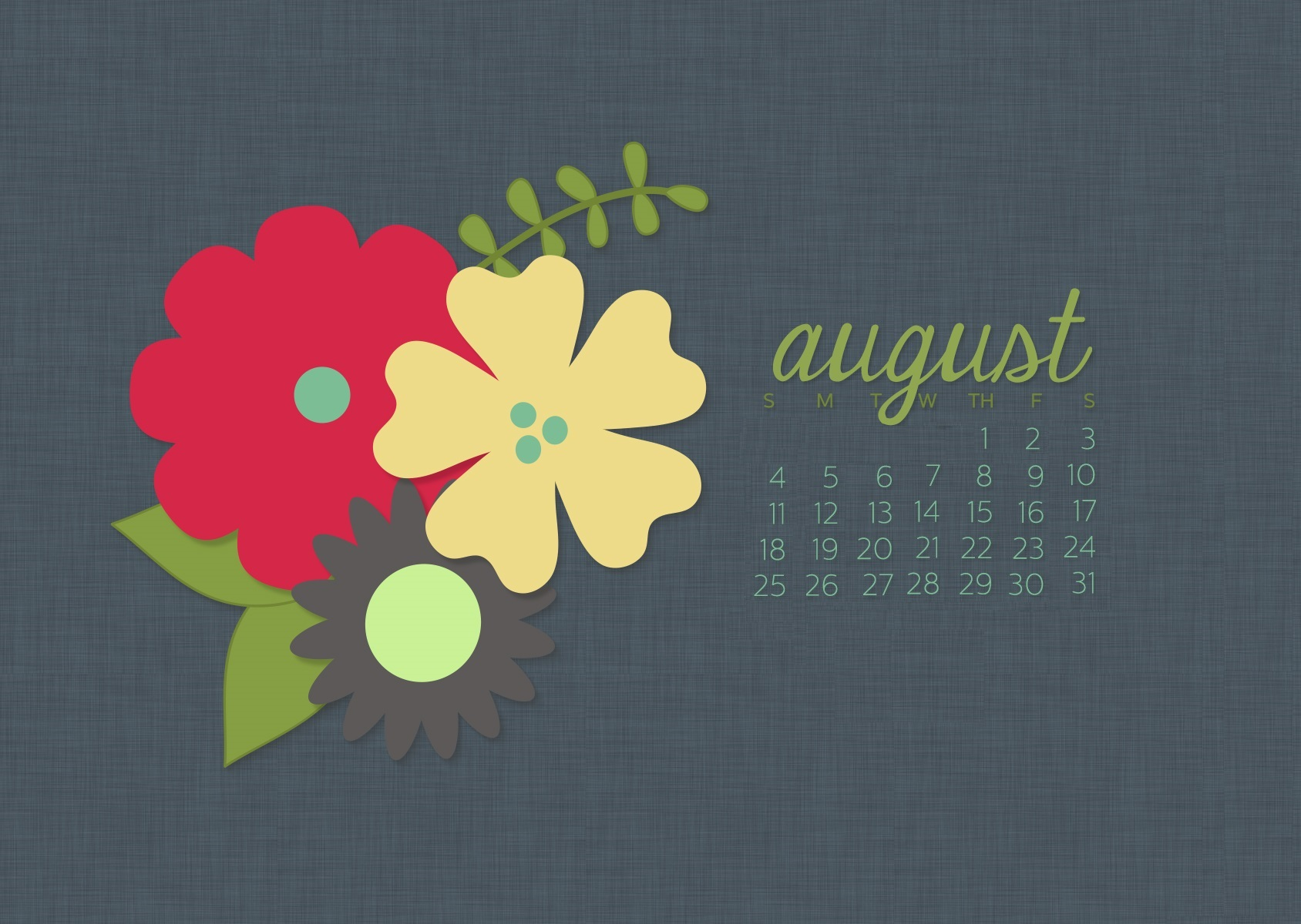 Cute August 2019 Desktop Calendar