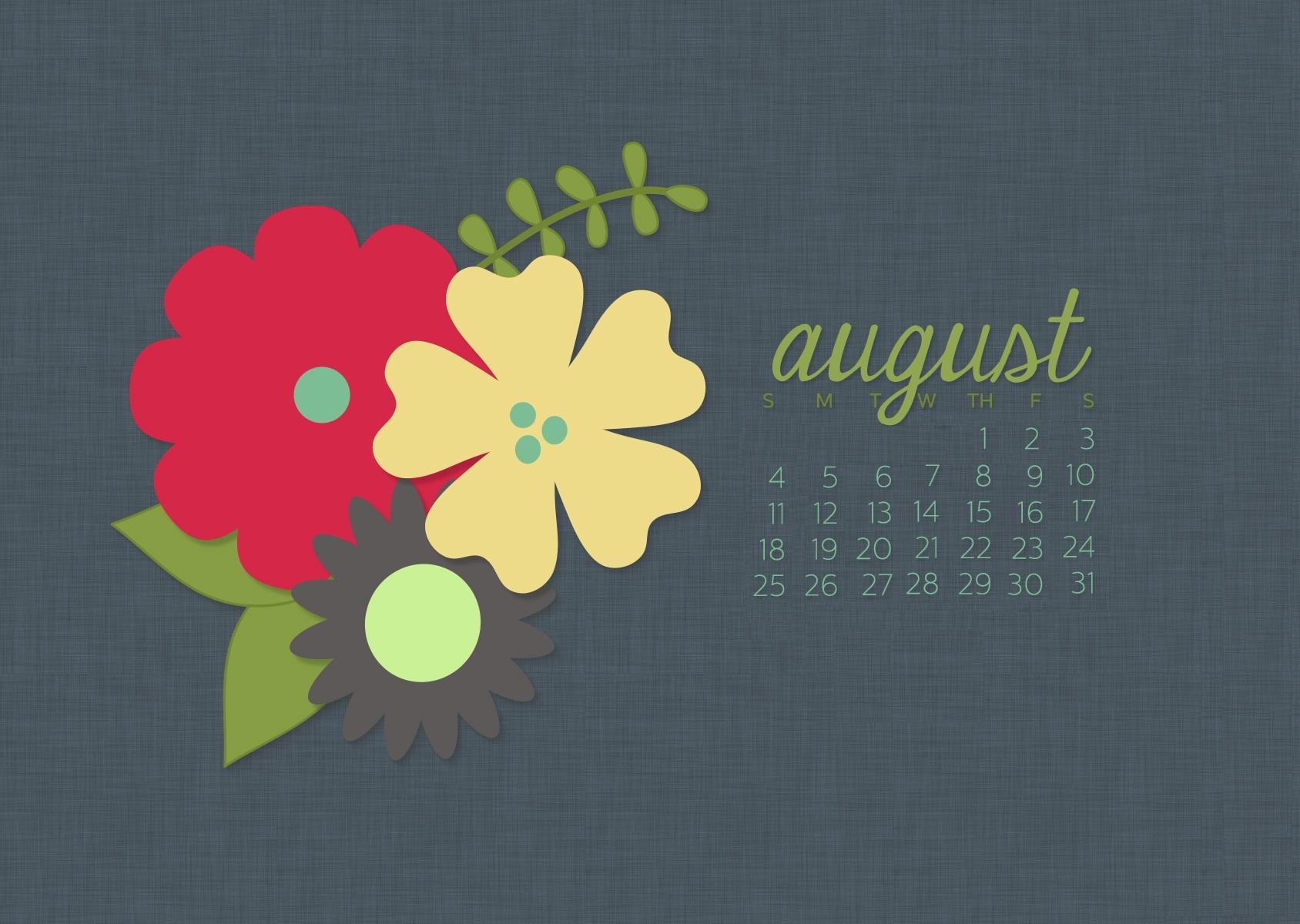 Cute August 2019 Desktop Calendar