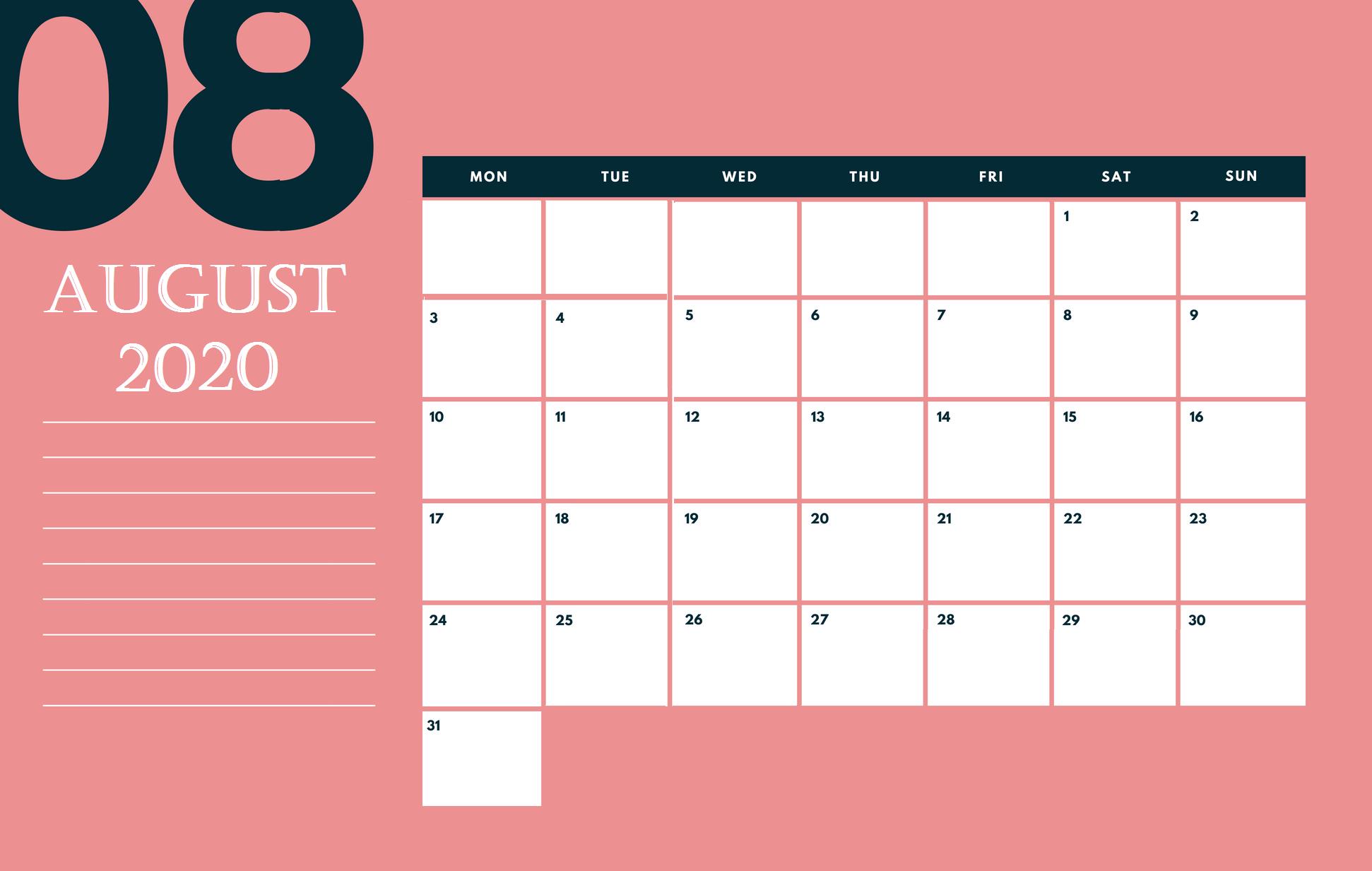 Cute August 2020 Desk Calendar
