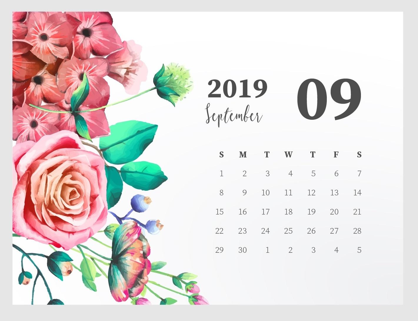 Cute September 2019 Calendar Design