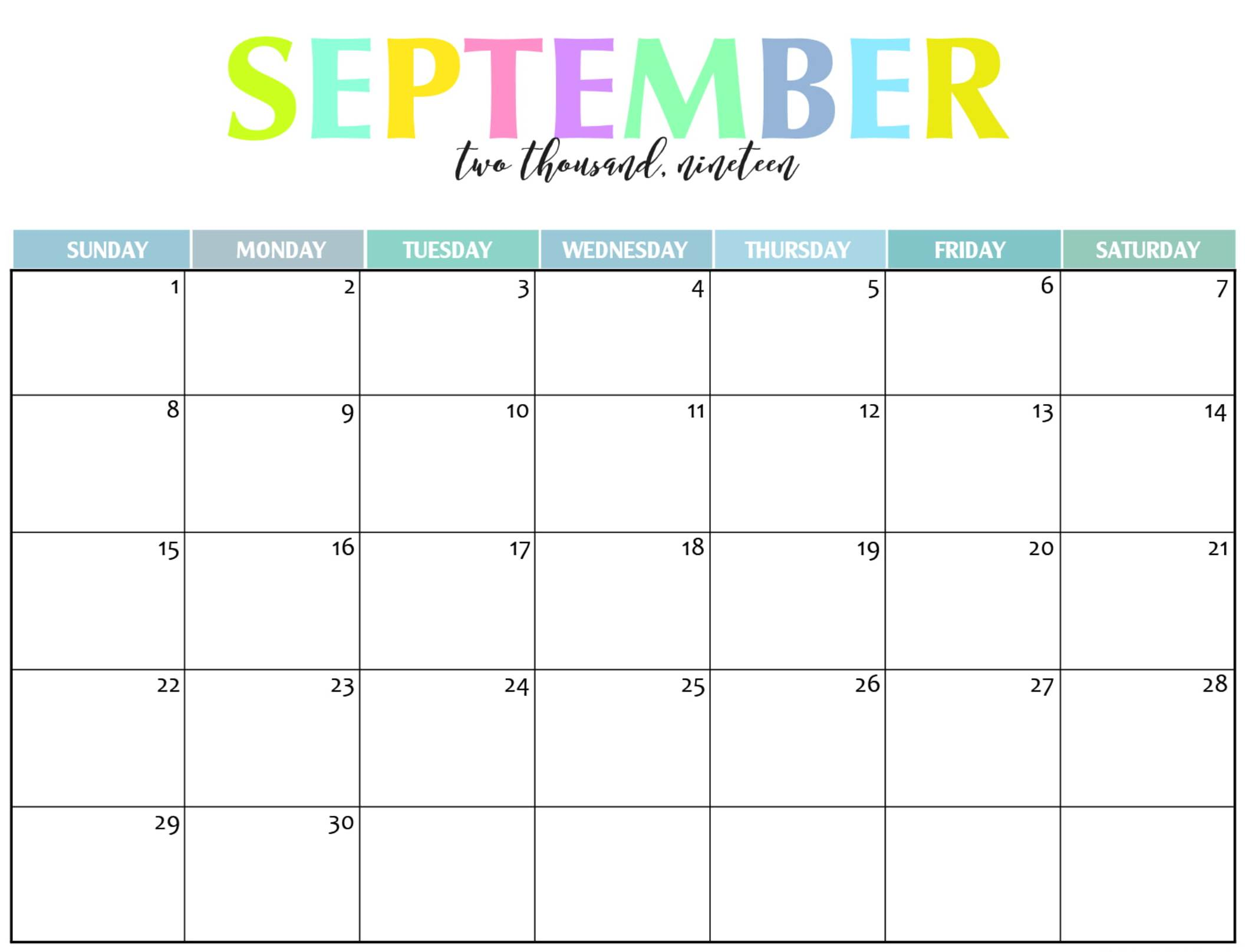 Cute September 2019 Calendar Planner