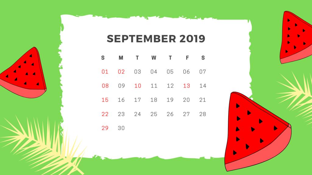 Cute September 2019 Calendar Template