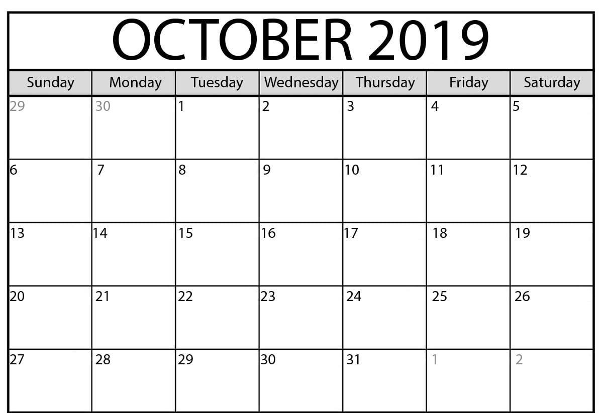 Editable October 2019 Printable Calendar