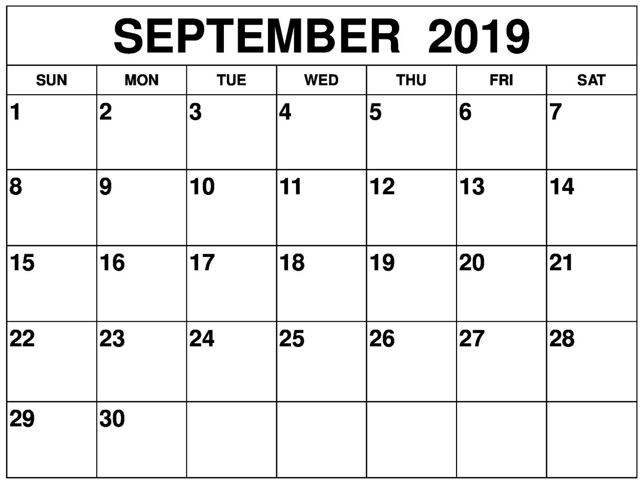 Editable September 2019 Blank Calendar