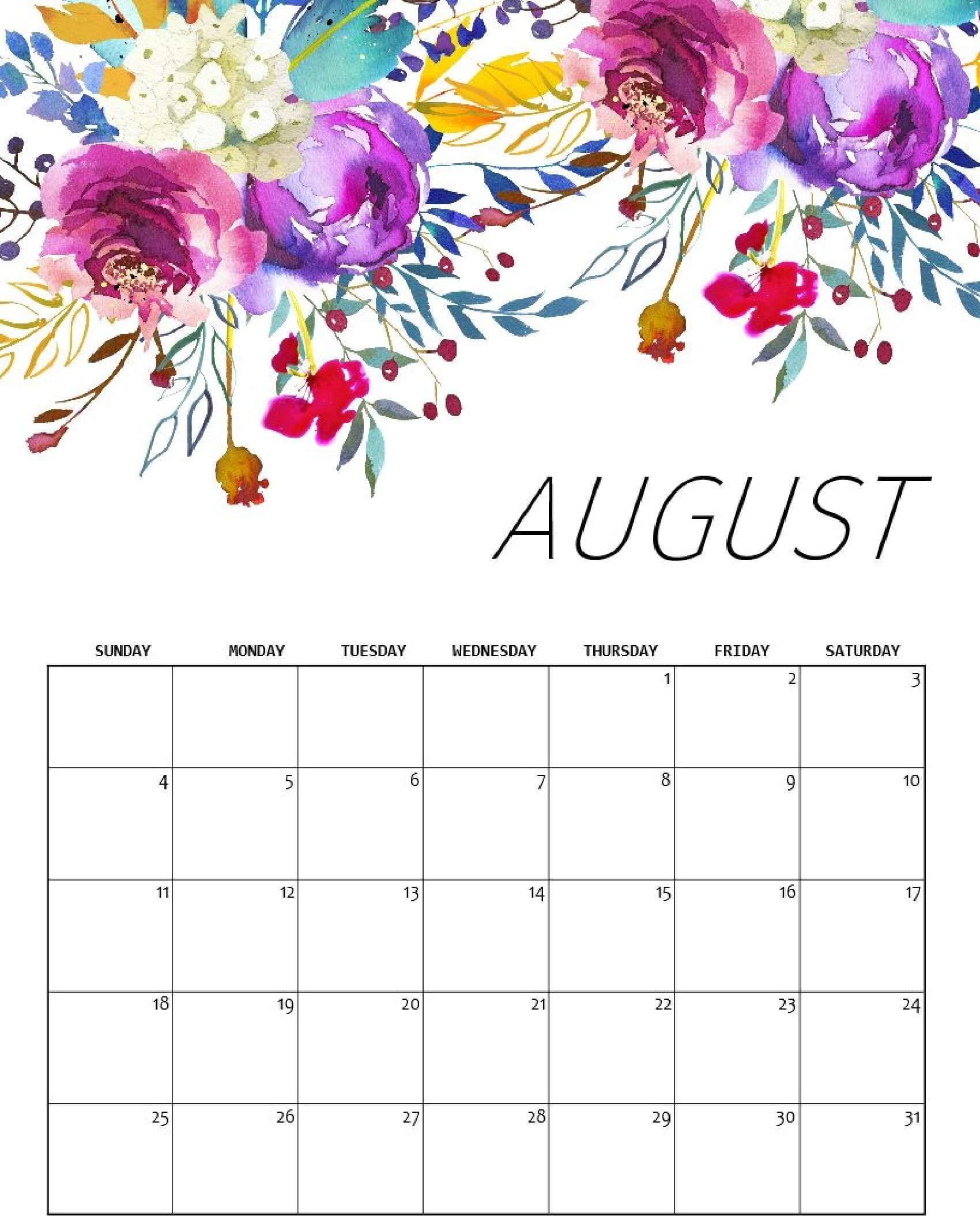Floral August 2019 Calendar Design
