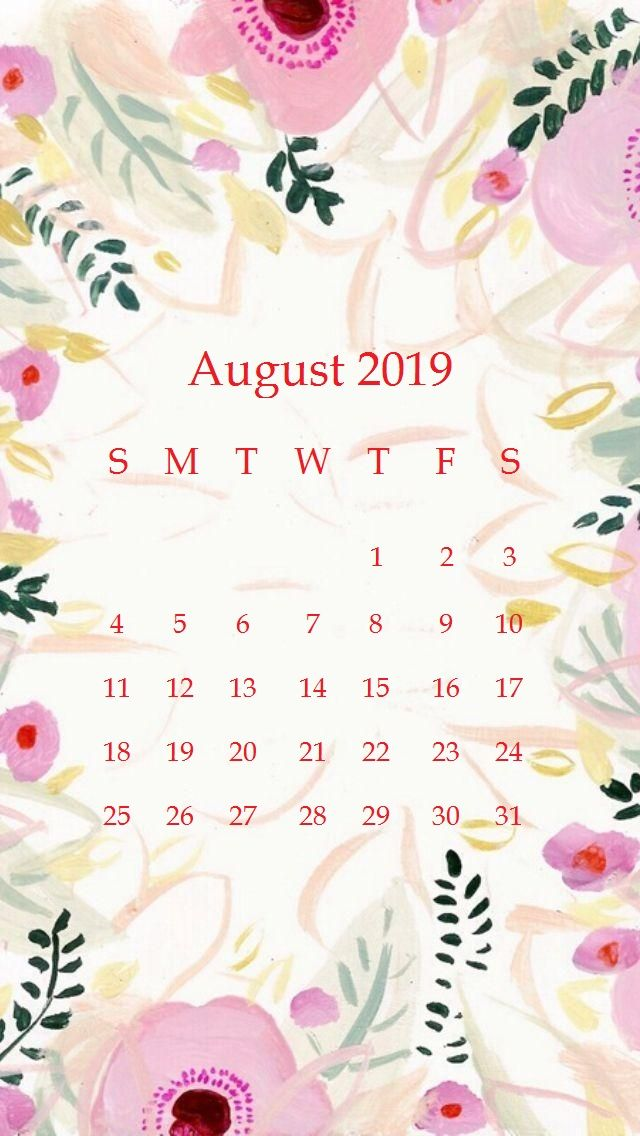 Floral Design iPhone Calendar Wallpaper for August 2019