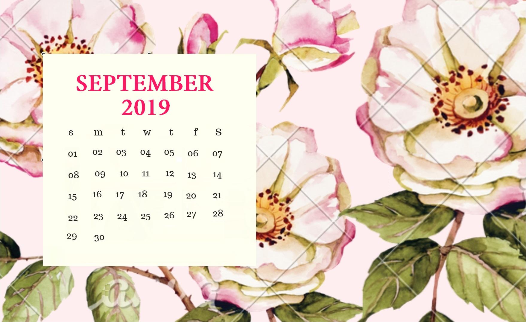 Floral September 2019 Cute Calendar