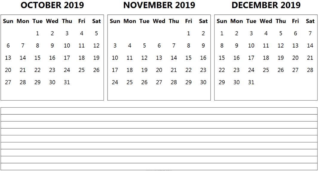 Free October November December 2019 Calendar