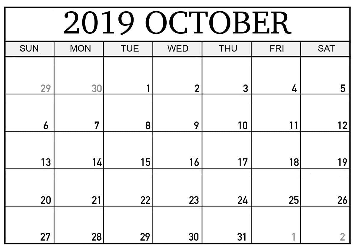 Free Printable October 2019 Calendar Template